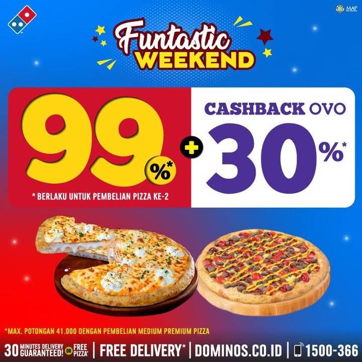 Domino's Pizza Promo Discount 99% Untuk Pizza Kedua + Cashback OVO 30%