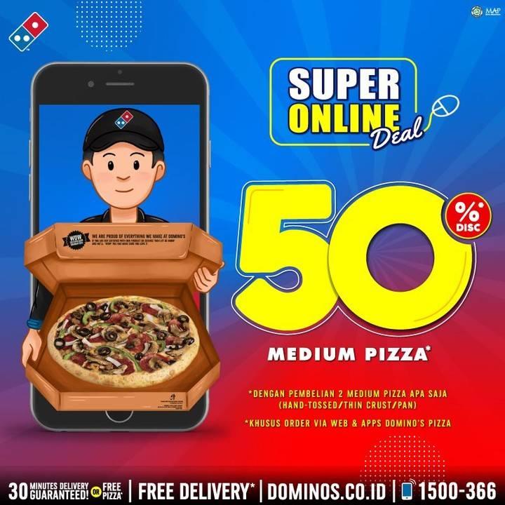 Domino's Pizza Promo Discount 50% Untuk Pembelian Online Medium Pizza
