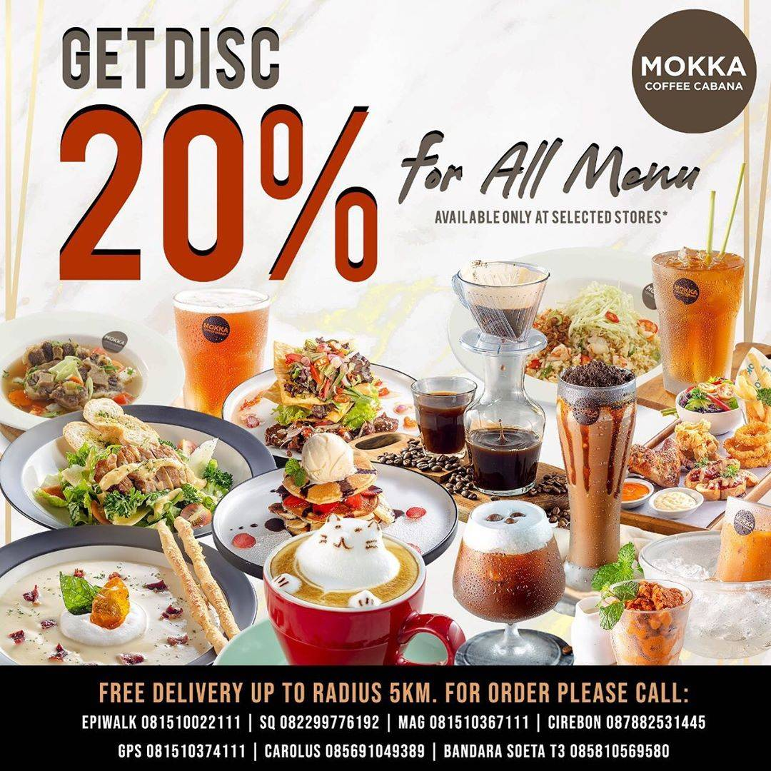 Diskon Mokka Coffee Cabana Promo Discount 20% Off For All Menu + Free Delivery