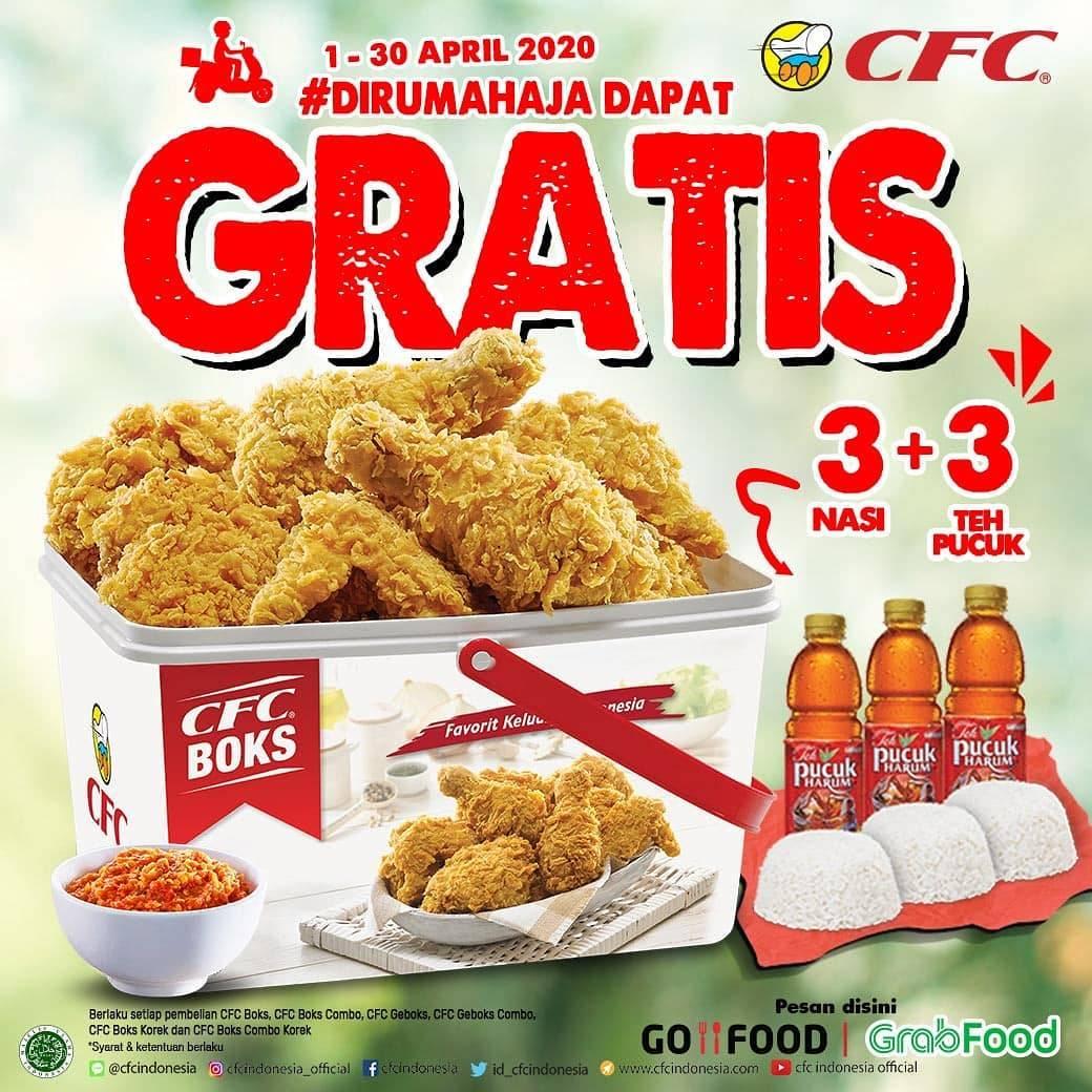 CFC Promo Gratis 3 Nasi + 3 Teh Pucuk Harum Setiap Pembelian CFC Boks Combo