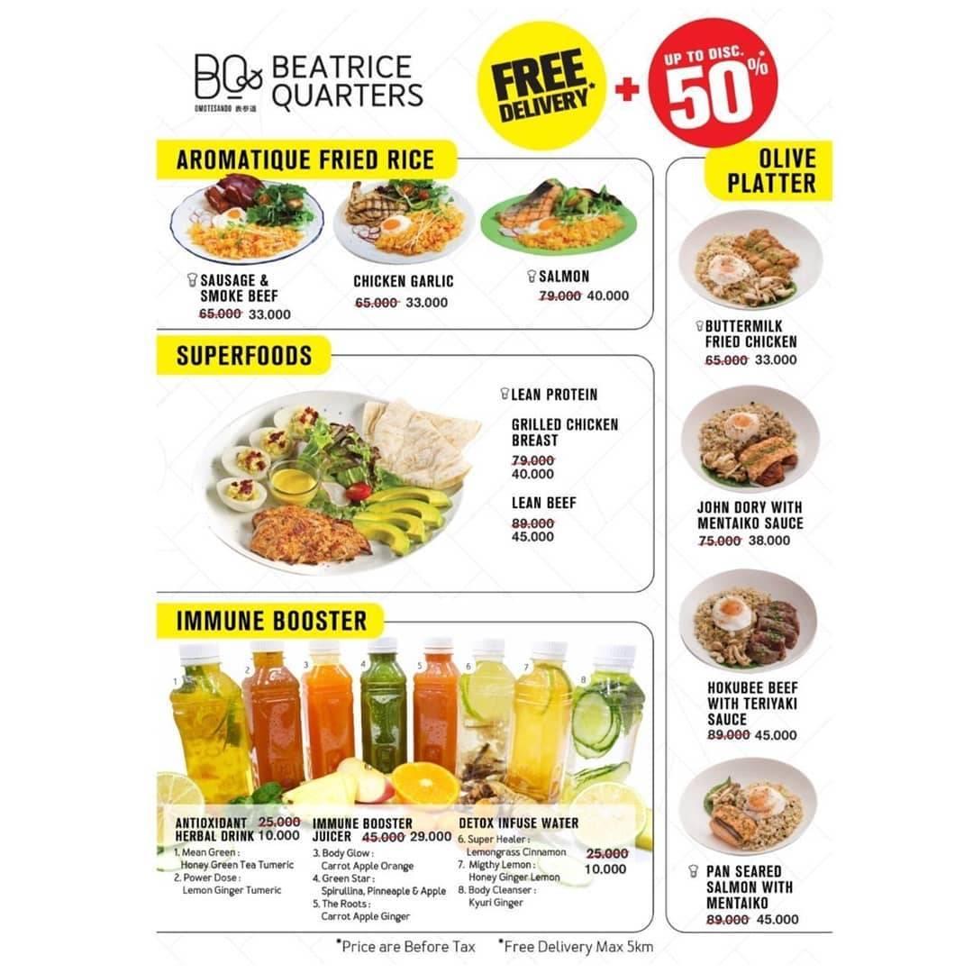 Diskon Beatrice Quarters Promo Diskon Hingga 50% Untuk Menu Pilihan + Free Delivery