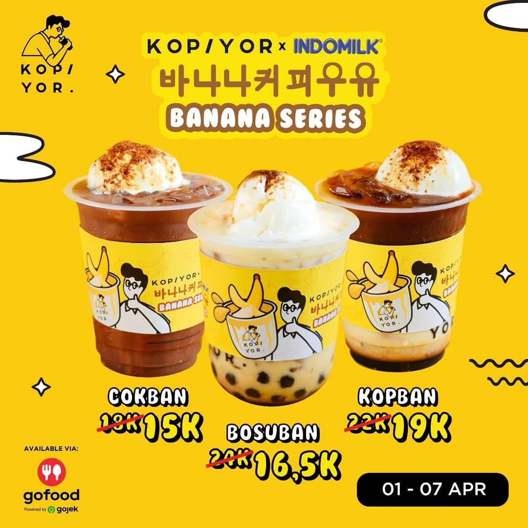 Kopi Yor Promo Banana Series Harga Mulai Dari Rp. 15.000 Pemesanan Via GoFood