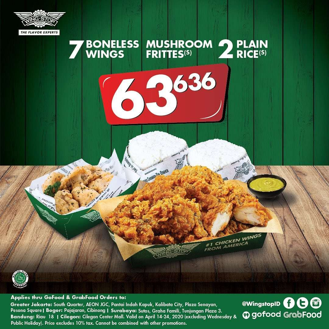 Wingstop Promo 7 Boneless Wings, Mushroom Fritters, and 2 Plain Rice For Rp 63.636,-