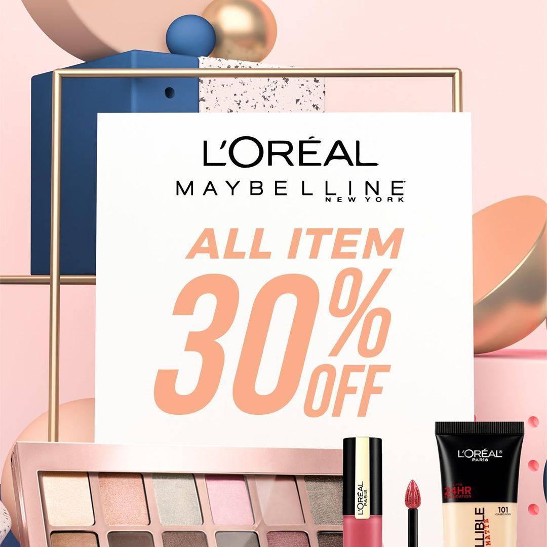 Diskon Matahari Promo Diskon 30% Untuk Semua Item Makeup Maybelline Dan L'Oreal