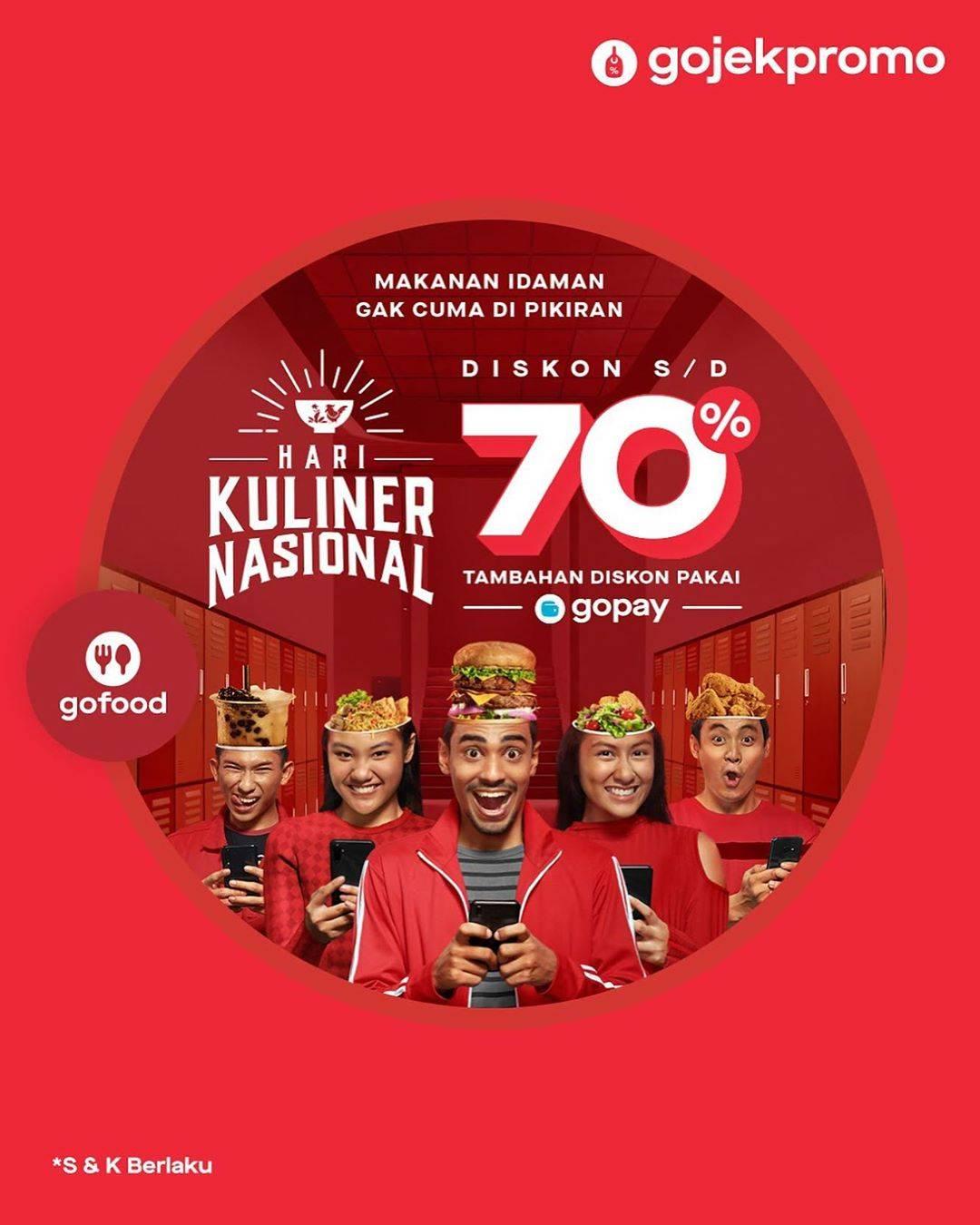 GoFood Promo Hari Kuliner Nasional, Diskon Hingga 40% Dan 70% Di Merchant-Merchant Favorit