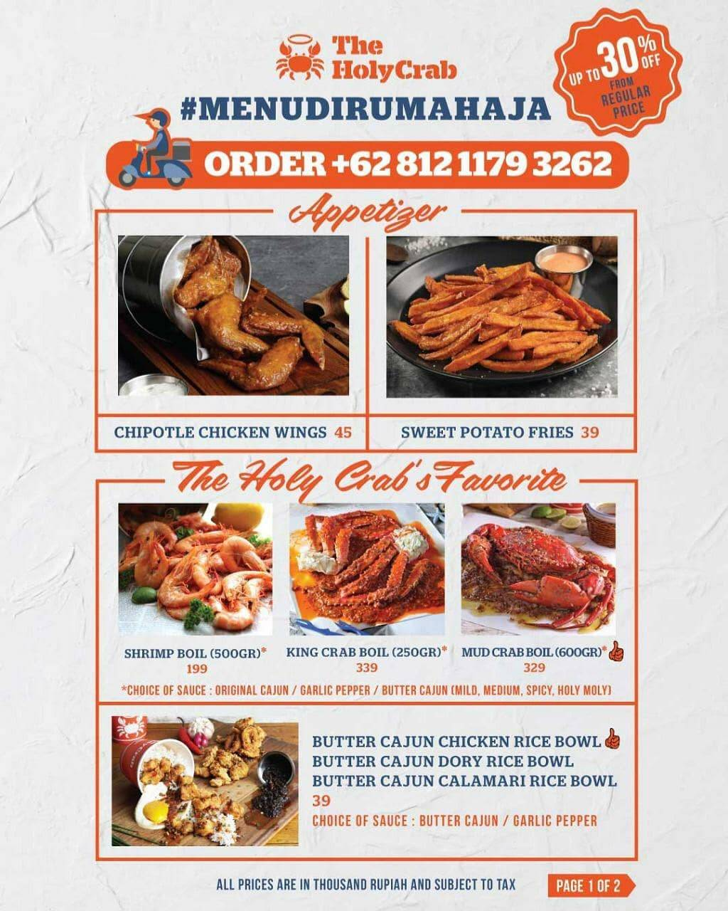 The Holy Crab Promo Discount Up To 30% For Stay Home Menu