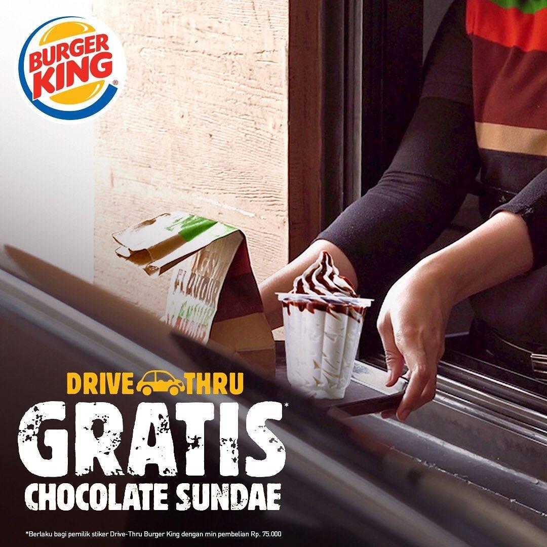 Diskon Burger King Promo Gratis Chocolate Sundae Setiap Pemesanan Melalui Drive Thru