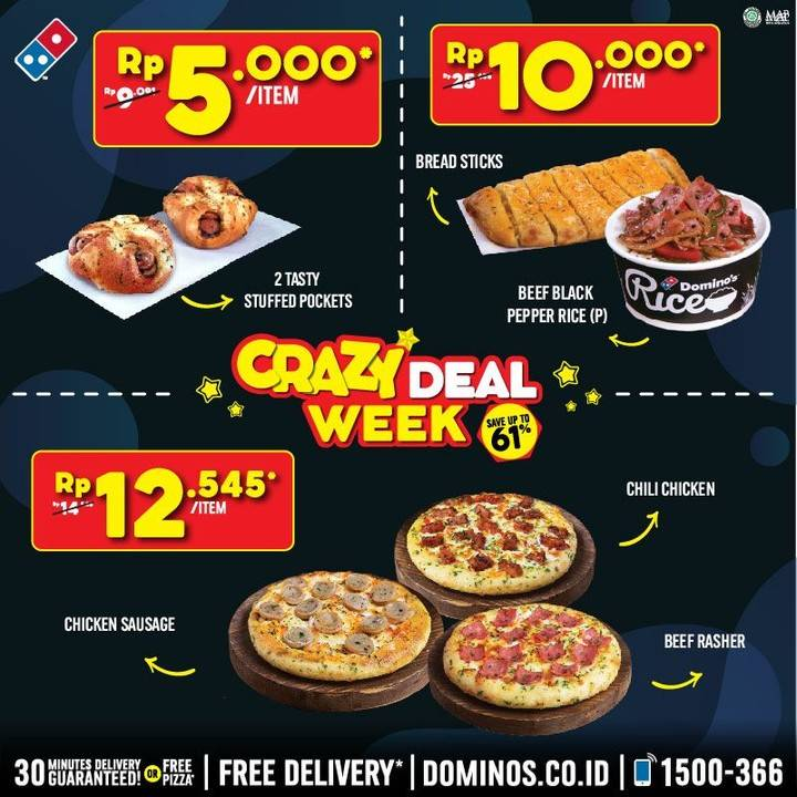 Domino's Pizza Promo Crazy Week Deals, Harga Spesial Menu Pilihan Mulai Dari Rp. 5.000