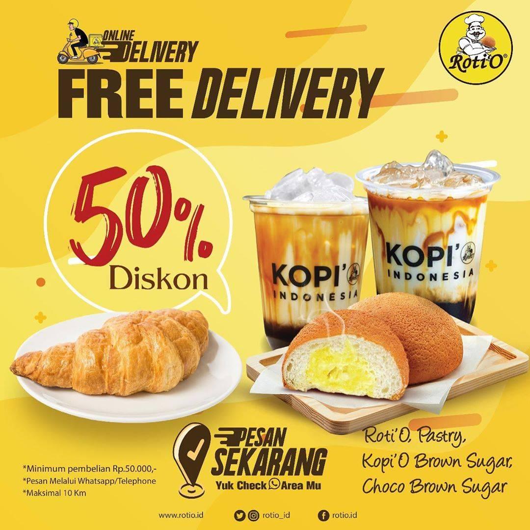 Roti'O Promo Diskon 50% + Free Delivery Untuk Semua Variant Pastry & Kopi Brown Sugar