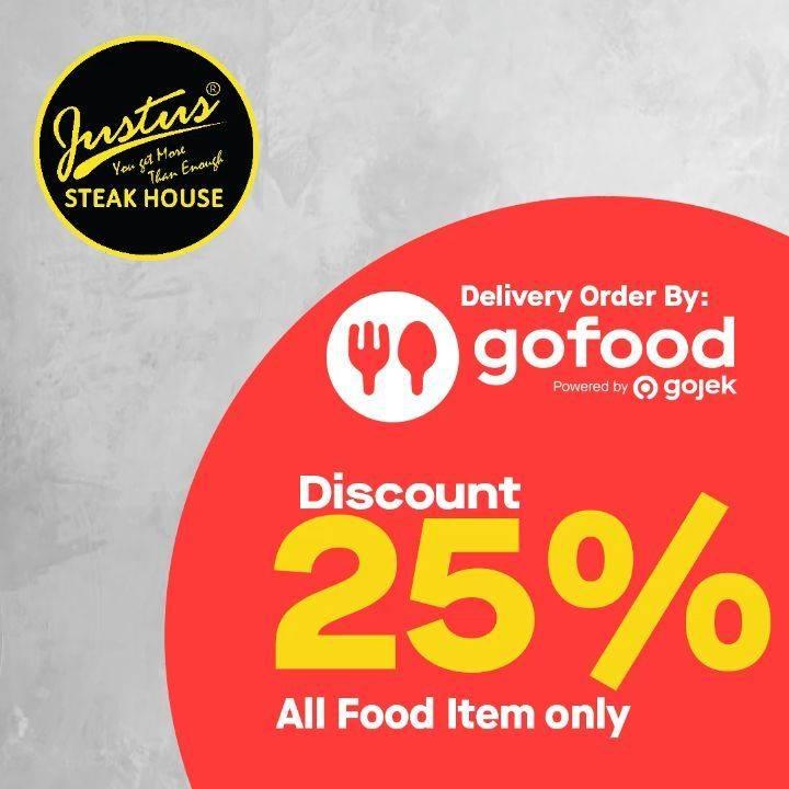Diskon Just Us Steak House Promo Diskon 25% Untuk Semua Item Dengan Pemesanan Via GoFood