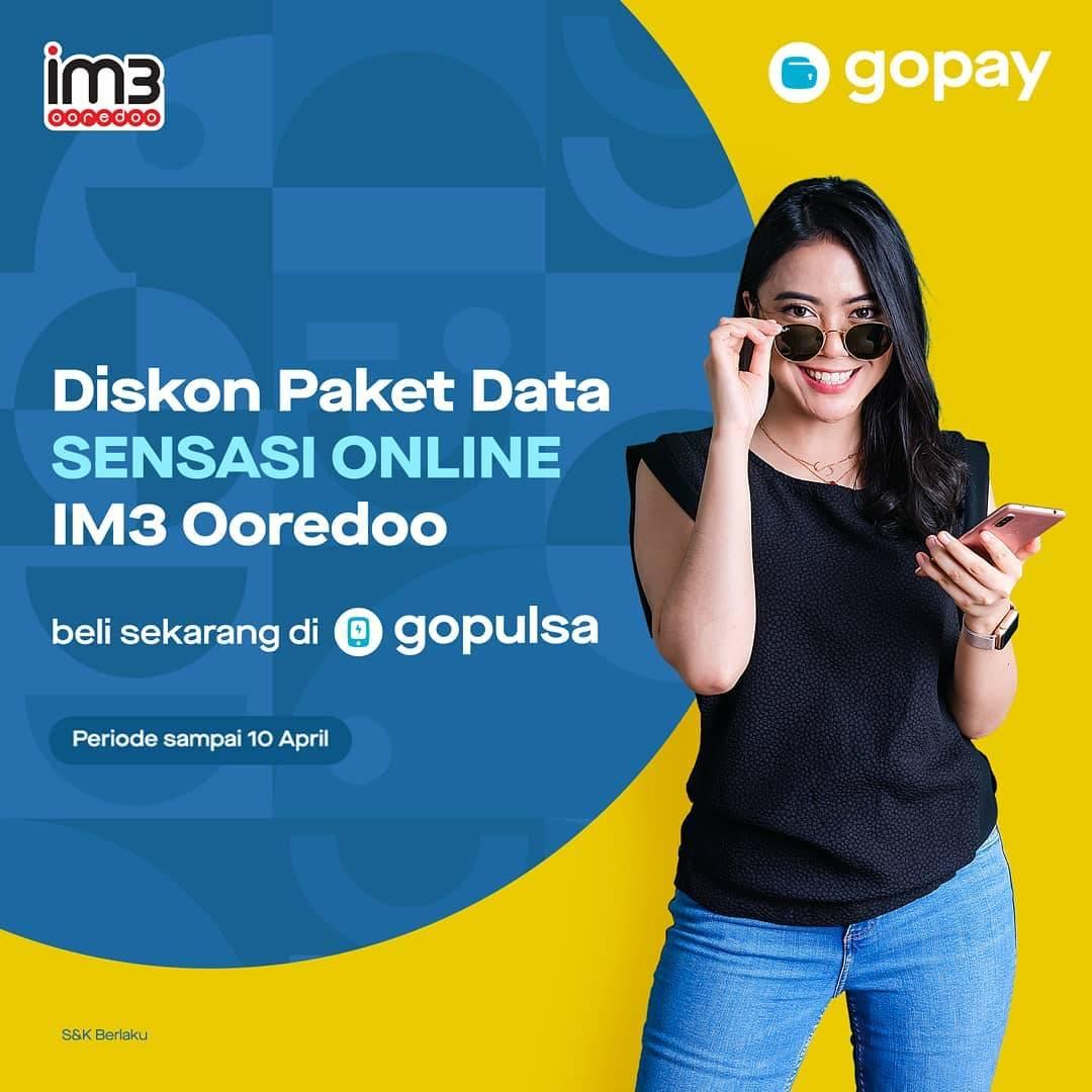 GoPay Promo Diskon Hingga Rp. 50.0000 Paket Data Sensasi Online IM3 Ooredoo