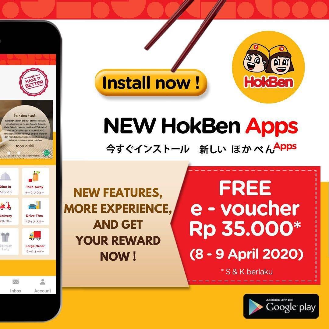 HokBen Promo Gratis e-Voucher Rp. 35.000 Untuk Pemesanan Via Aplikasi HokBen