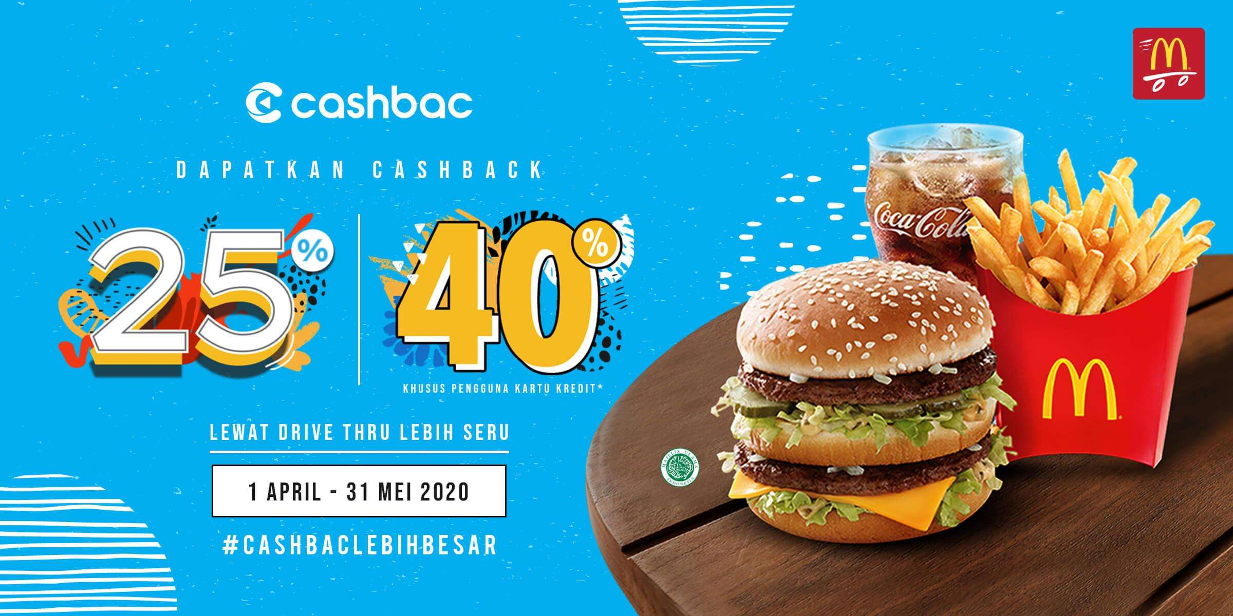 Diskon McDonalds Promo Cashback 25% & 40% Dengan Transaksi Menggunakan Cashbac App