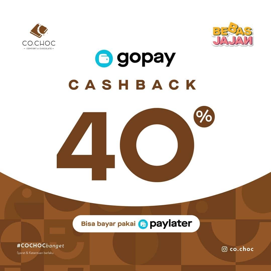 Co.Choc Promo Bebas Jajan, Cashback 40% Dengan Transaksi Menggunakan GoPay