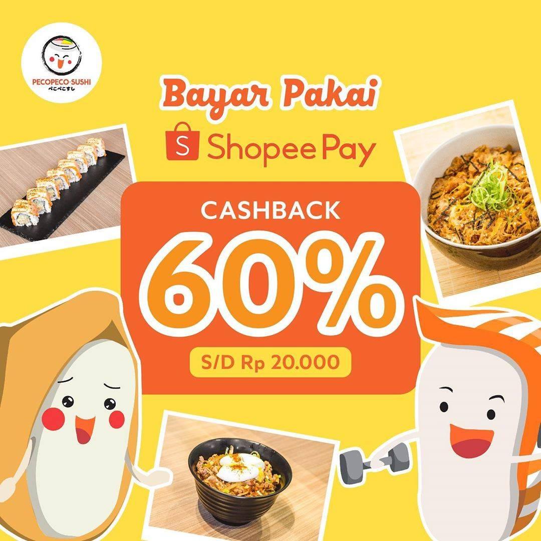 Diskon Peco Peco Sushi Promo Cashback 60% Dengan Transaksi Menggunakan ShopeePay