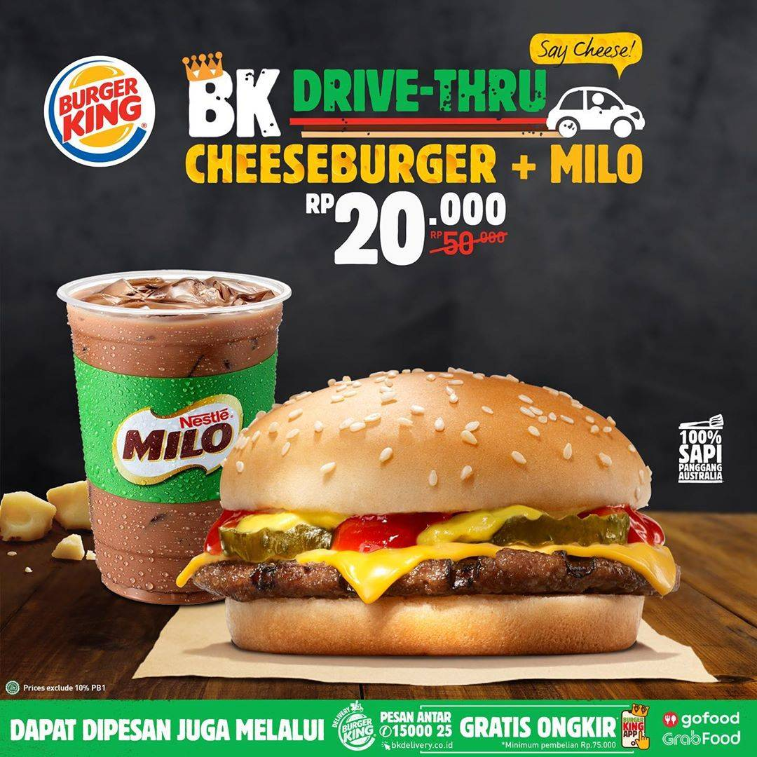 Burger King Promo Menu Say Cheese , Cheeseburger + Milo Hanya Rp. 20.000