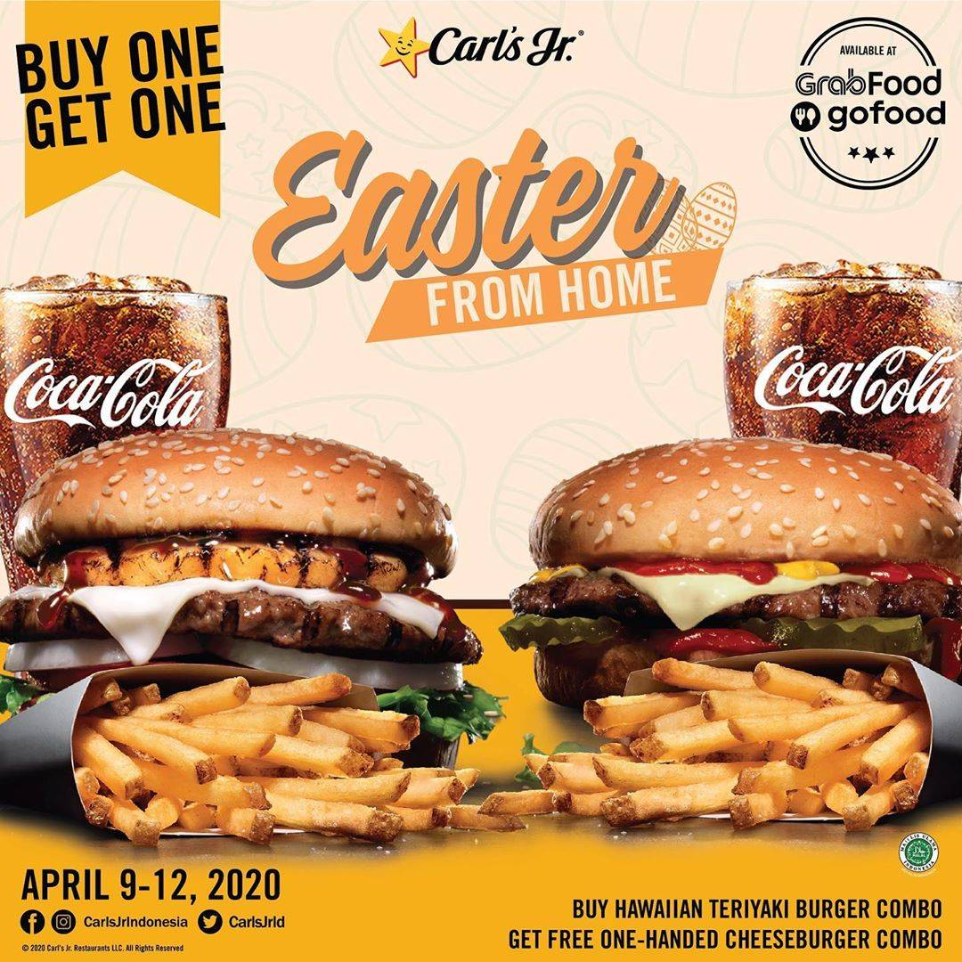Carls Jr Promo Easter From Home, Buy 1 Get 1 Burger Combo Favorit