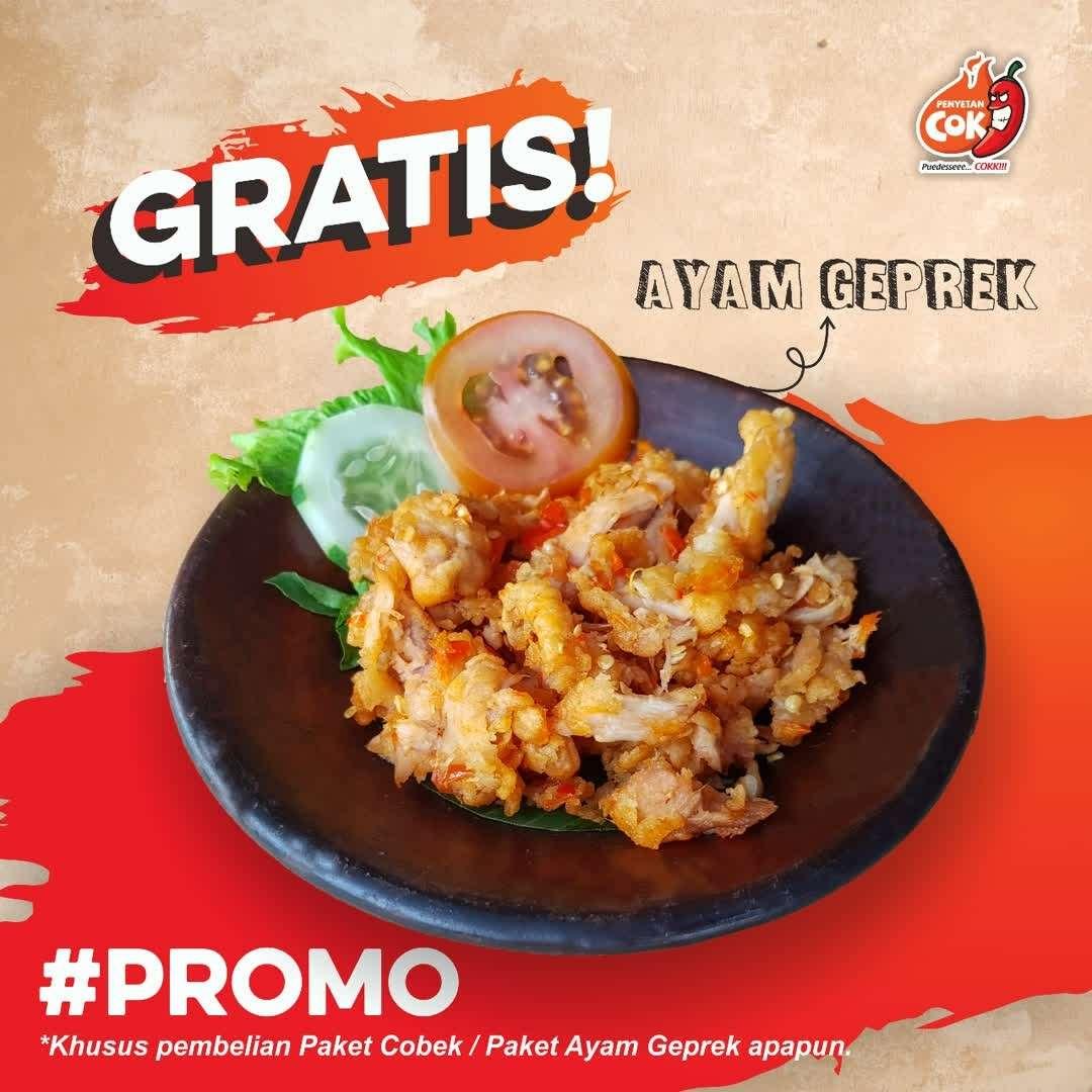 Penyetan Cok Promo Beli 1 Paket Cobek / Paket Ayam Geprek Gratis 1 Ayam Geprek