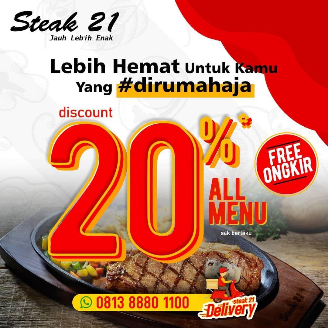 Diskon Steak 21 Promo Diskon 20% Untuk Semua Menu + Gratis Ongkir