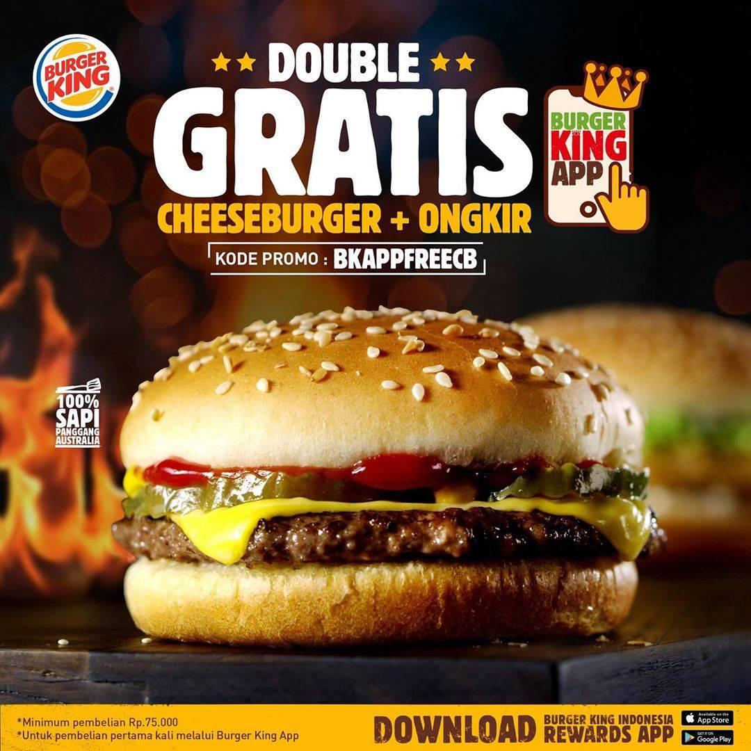 Diskon Burger King Promo Gratis Cheeseburger + Gratis Ongkir Dengan Pemesanan Melalui Aplikasi