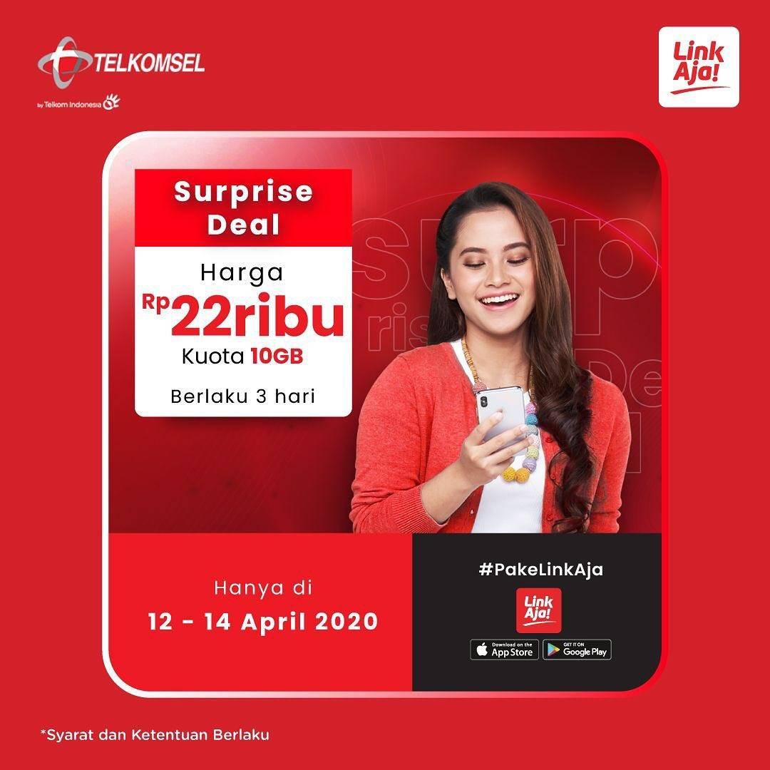 Diskon Link Aja Promo Surprise Deal, Kuota Telkomsel 10GB Cuma Rp. 22.000