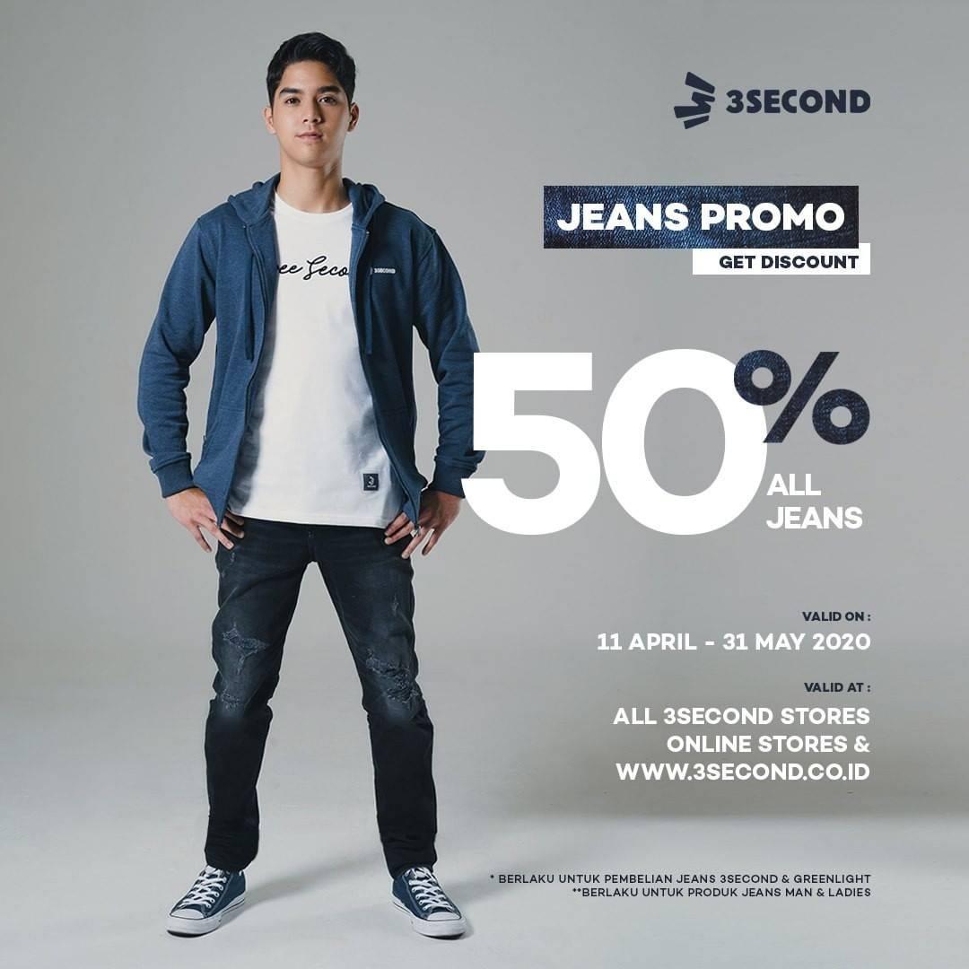 Diskon 3 Second Promo Diskon 50% Setiap Pembelanjaan Celana Jeans di Website / Official Store di Marketplac