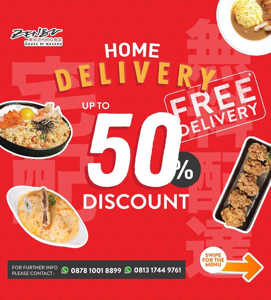 Diskon Zenbu Promo Home Delivery, Diskon Hingga 50% + Free Delivery