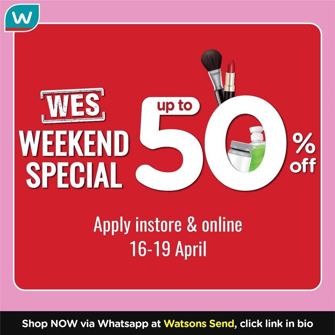 Diskon Watsons Promo Weekend Special Periode 16-19 April, Diskon Hingga 50% Untuk Produk Pilihan