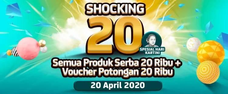 Diskon JD.ID Promo Shocking 20, Harga Spesial Rp. 20.000 & Voucher Potongan Rp.20.000