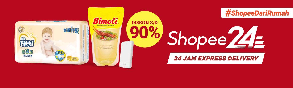 Diskon Shopee Promo 24 Jam Express Delivery, Diskon Hingga 90% + Voucher Gratis Ongir & Cashback