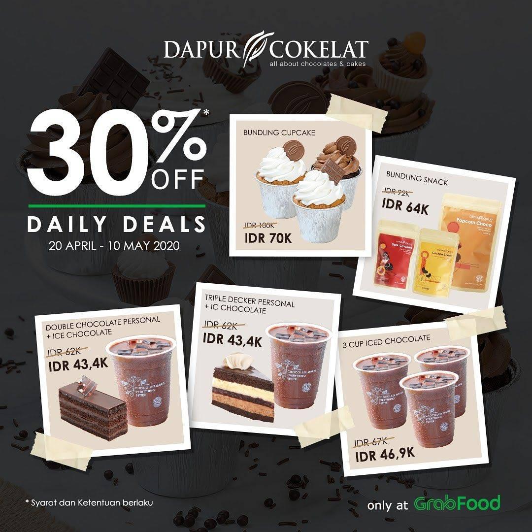 Diskon Dapur Cokelat Promo Daily Deals, Diskon 30% Untuk Pemesanan Melalui GrabFood