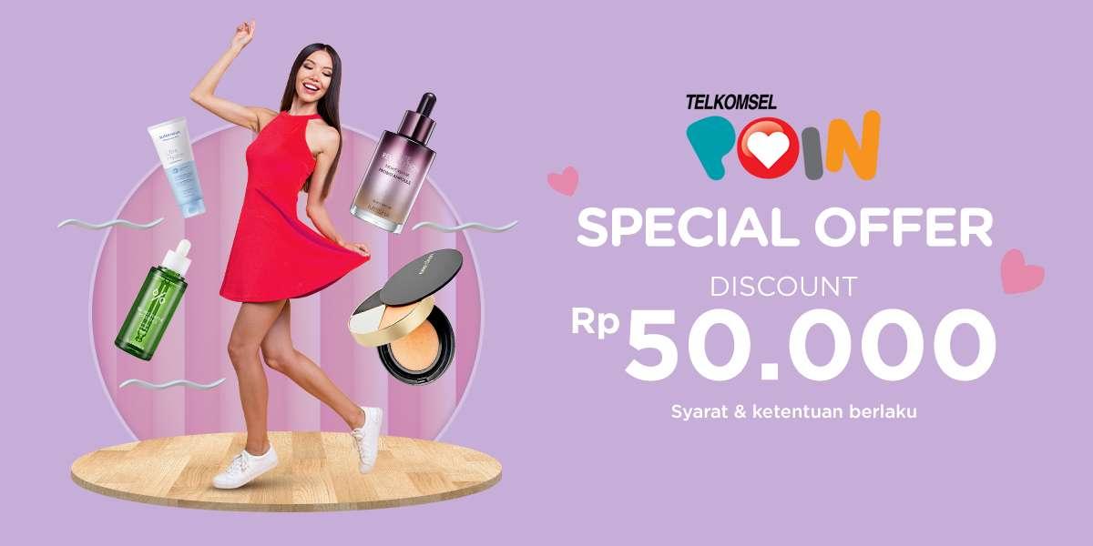 Diskon iLotte.com x Telkomsel Poin Special Offer Korean Beauty Fair Get Discount Rp. 50.000