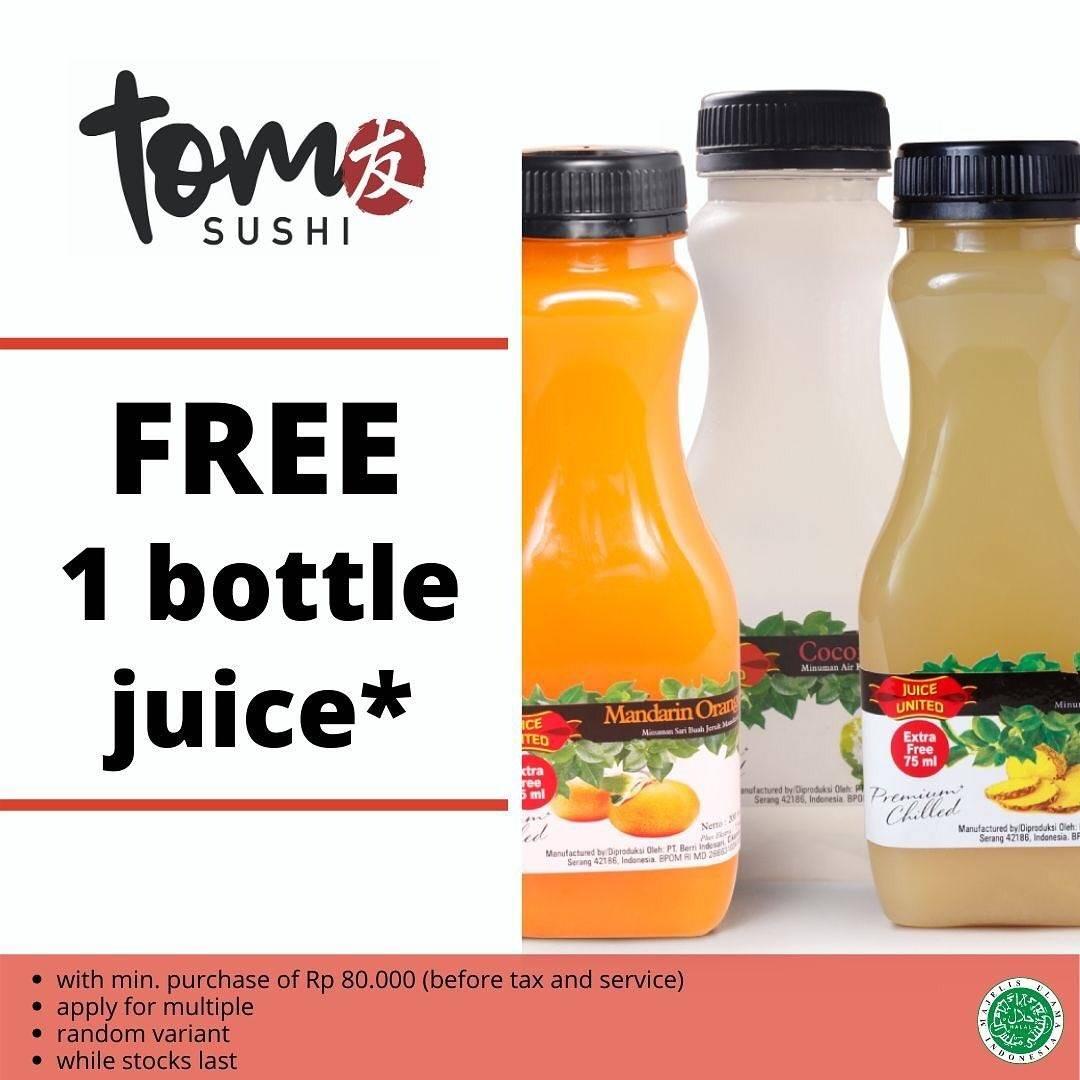 Diskon Tom Sushi Promo Gratis 1 Botol Juice Dengan Minimum Transaksi Senilai Rp. 80.000