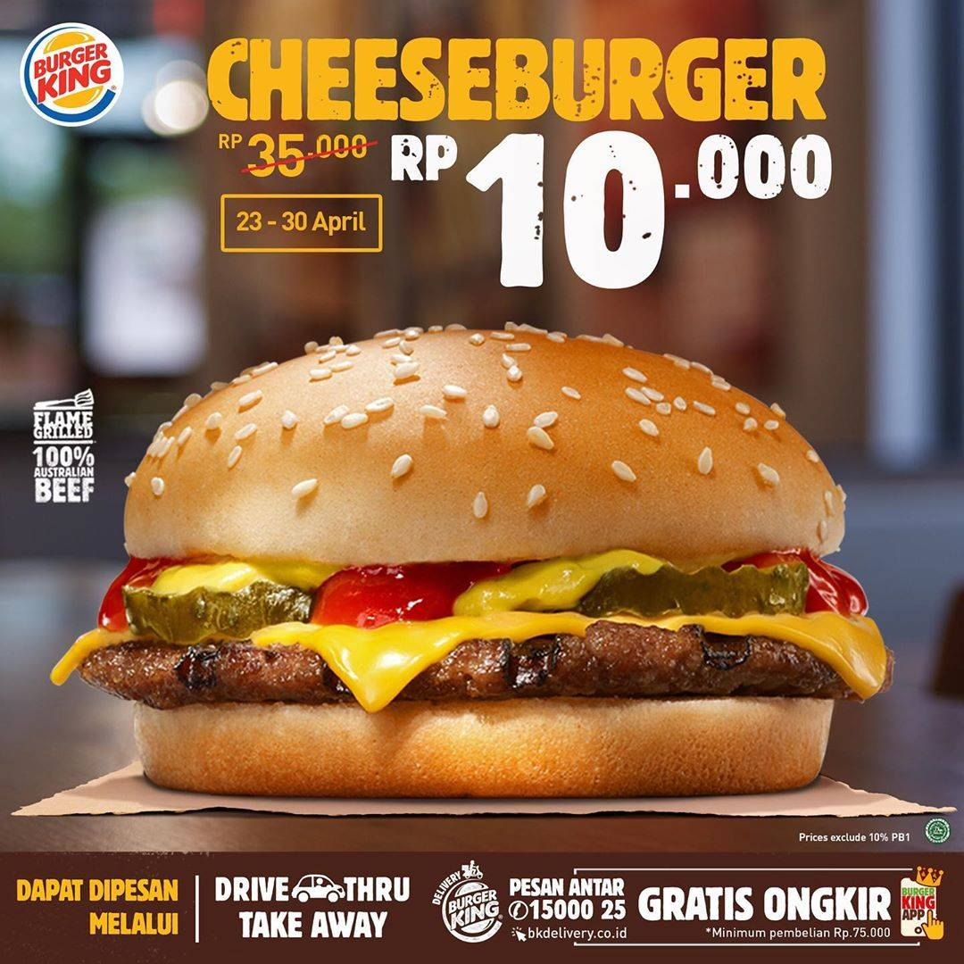Diskon Burger King Promo Cheeseburger Cuma Rp. 10.000