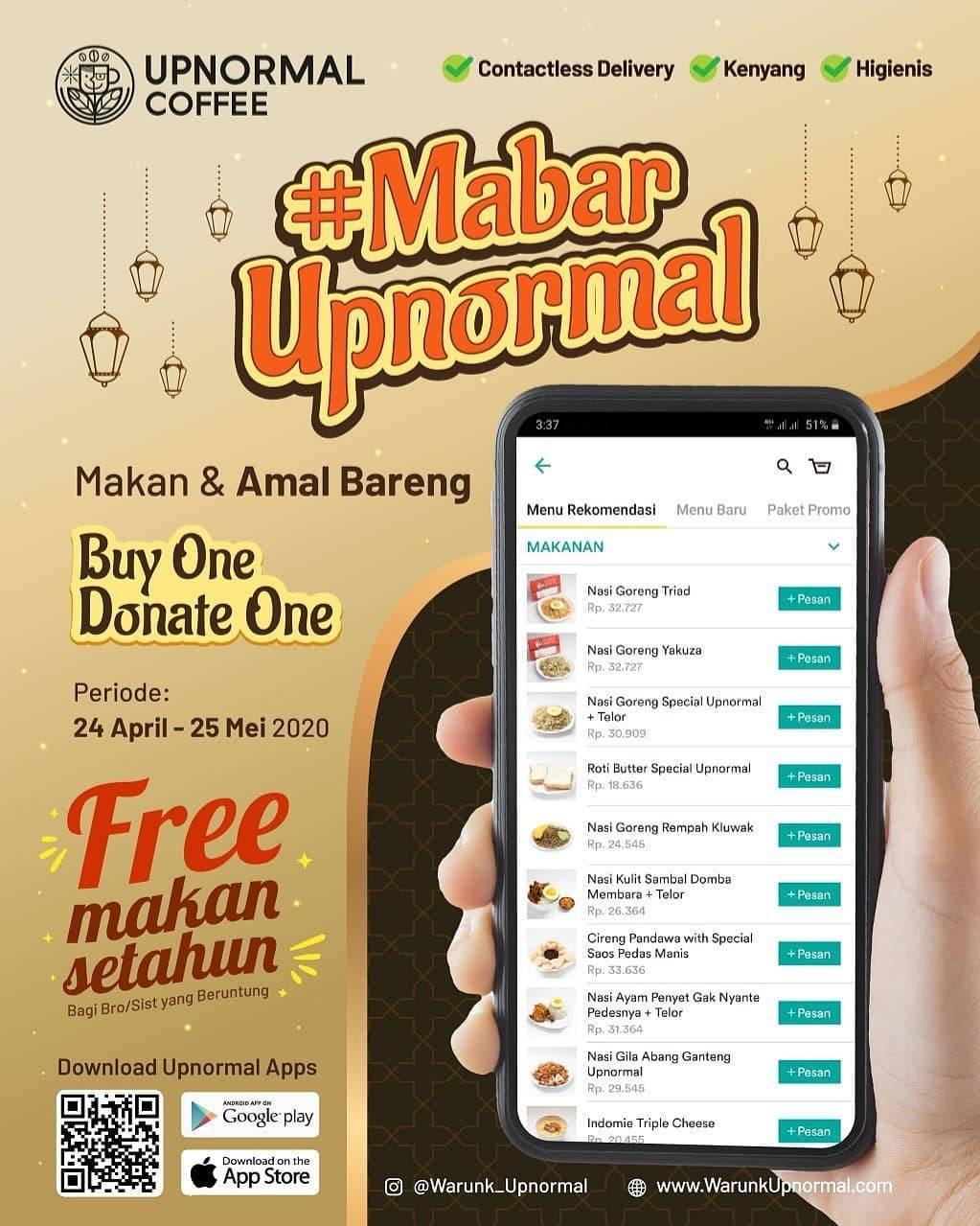 Diskon Warunk Upnormal Promo Mabar Upnormal, Beli 1 Donasikan 1 Paket Makanan