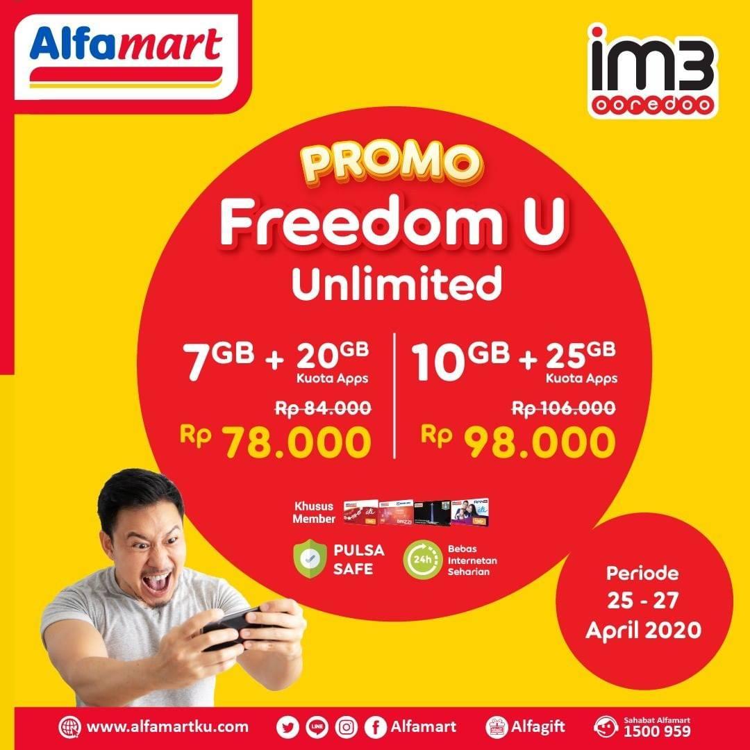 Diskon Alfamart Promo IM3 Freedom U Unlimited Dengan Harga Mulai Dari Rp. 78.000