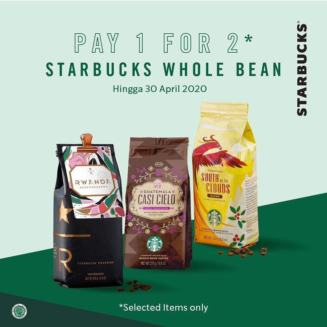 Diskon Starbucks Promo Pay 1 For 2 Starbucks Whole Bean & Starbucks Via
