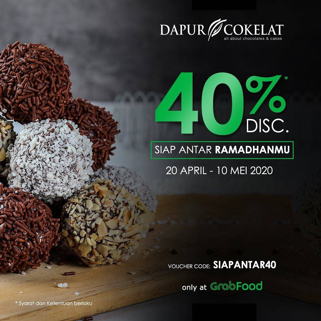 Diskon Dapur Cokelat Promo Diskon 40% Untuk Pemesanan Via GrabFood