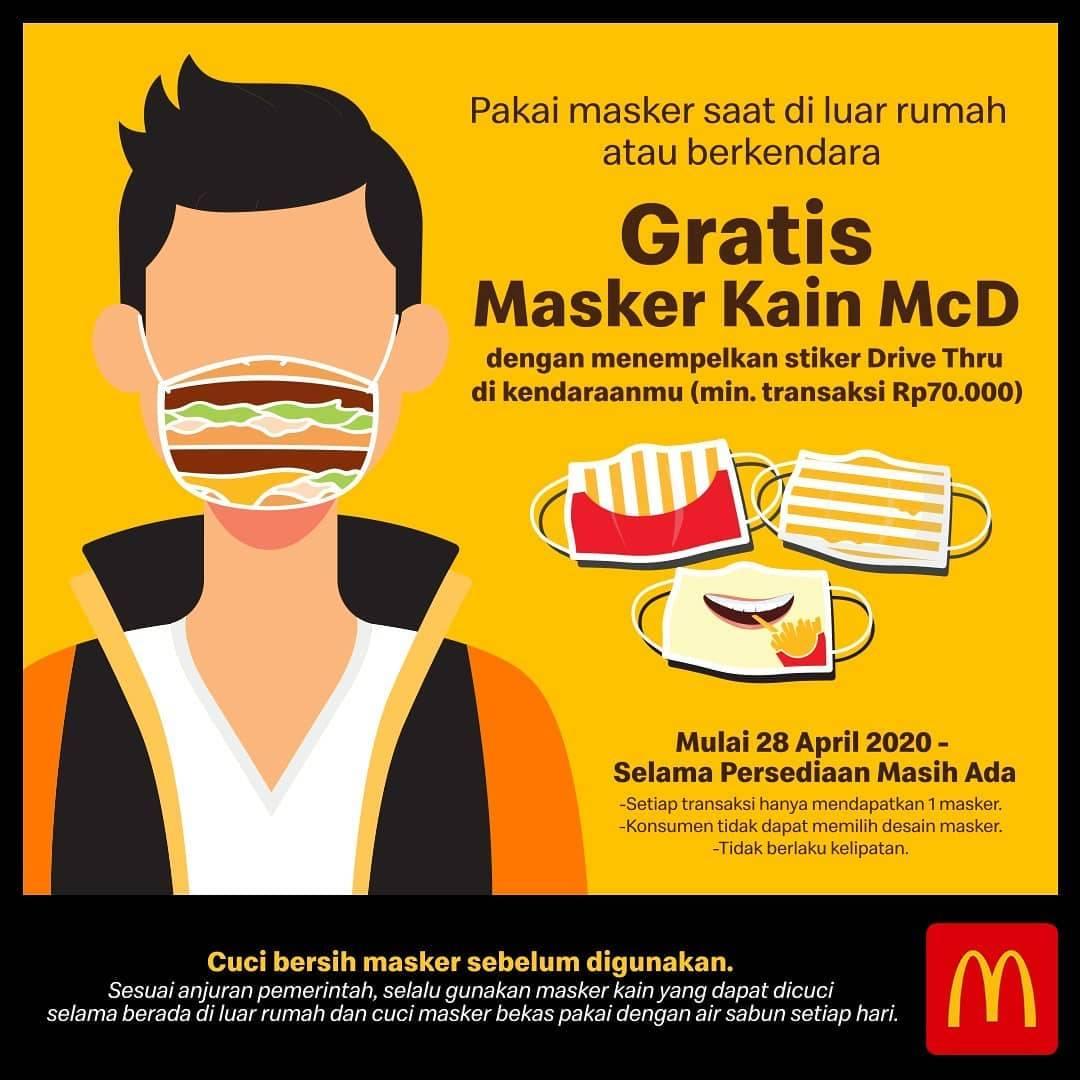 Diskon McDonalds Promo Gratis Masker Kain Setiap Menunjukkan Stiker Drive Thru