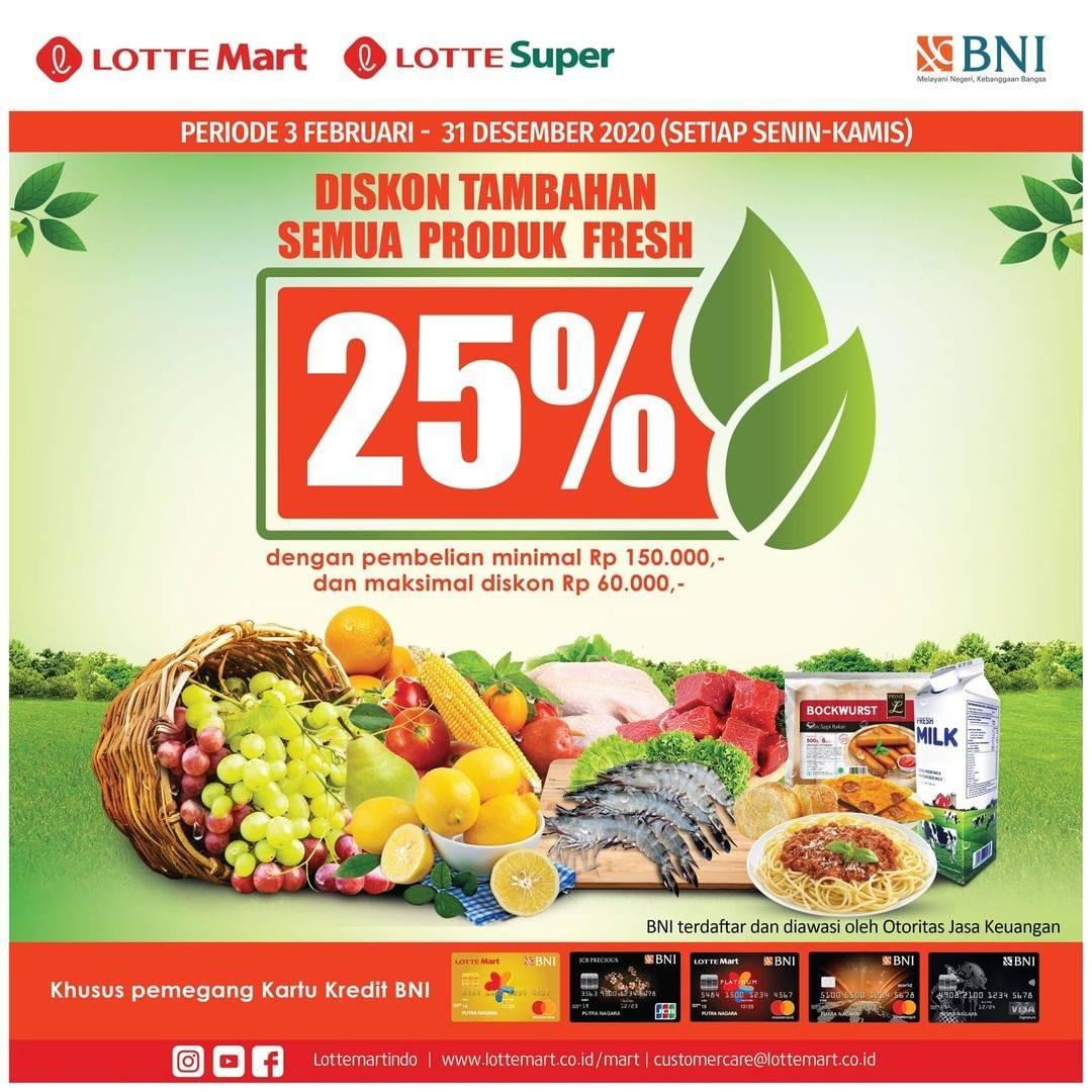 Diskon LotteMart Promo Diskon 25% Untuk Semua Produk Fresh Dengan Transaksi Menggunakan Kartu Kredit BNI