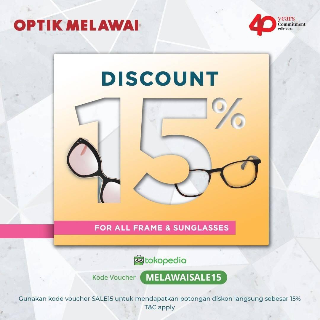 Diskon Optik Melawai Diskon 15% For All Frame & Sunglasses