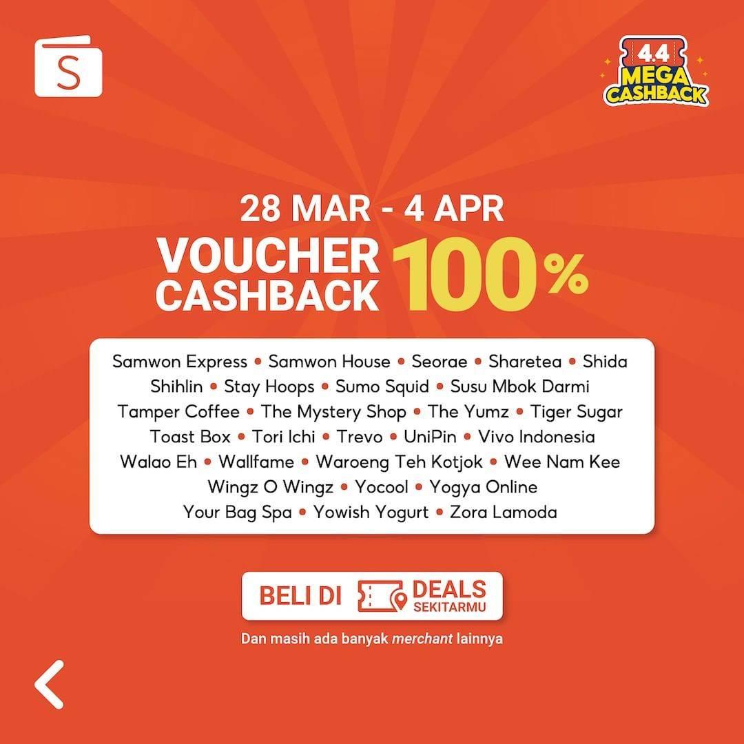 Promo diskon Shopeepay Voucher Cashback 100% On Selected Merchants