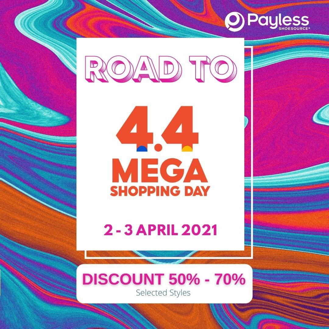 Diskon Payless 4.4 Mega Shopping Day Discount 50% - 70% On Shopee
