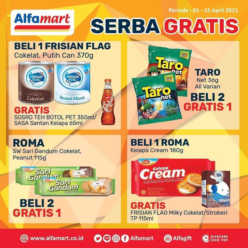 Promo diskon Katalog Promo Alfamart Serba Gratis Periode 1 - 15 April 2021