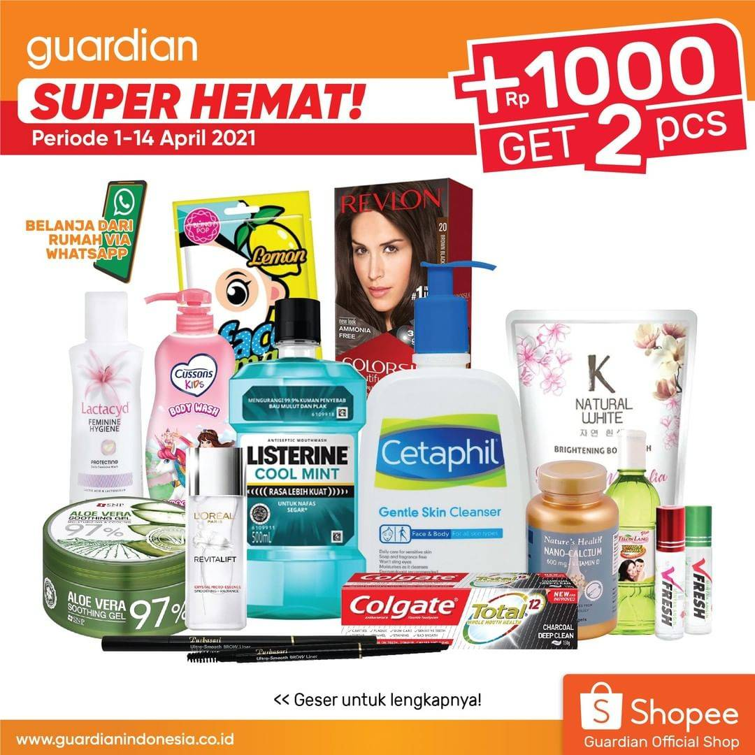 Diskon Katalog Promo Guardian Super Hemat +1000 Dapat 1 - 14 April 2021