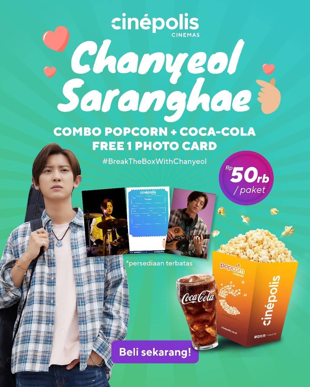 Diskon Cinepolis Combo Popcorn + Coca Cola Free Photo Card Hanya Rp. 50.000