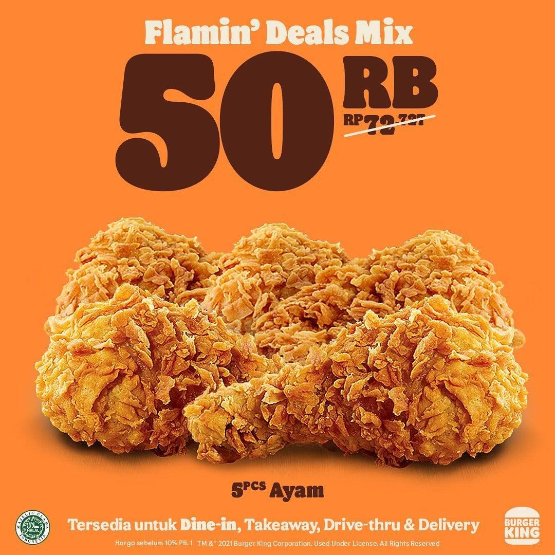 Promo diskon Burger King Flamin Deal Mix Diskon Hingga 50%