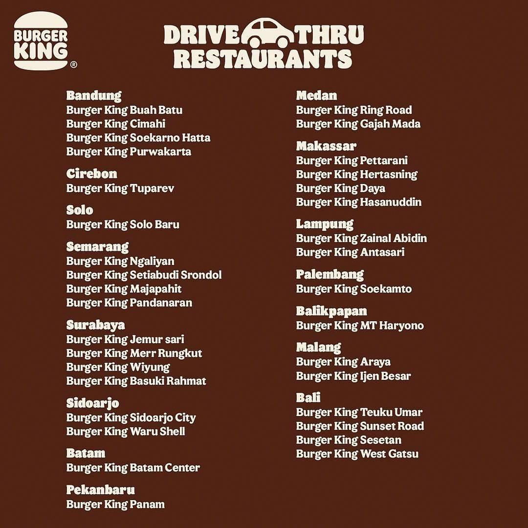Promo diskon Burger King Promo Drive Thru Diskon Rp. 50.000