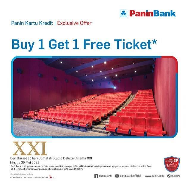Diskon XXI Beli 1 Gratis 1 Tiket Dengan Kartu Kredit Panin Bank