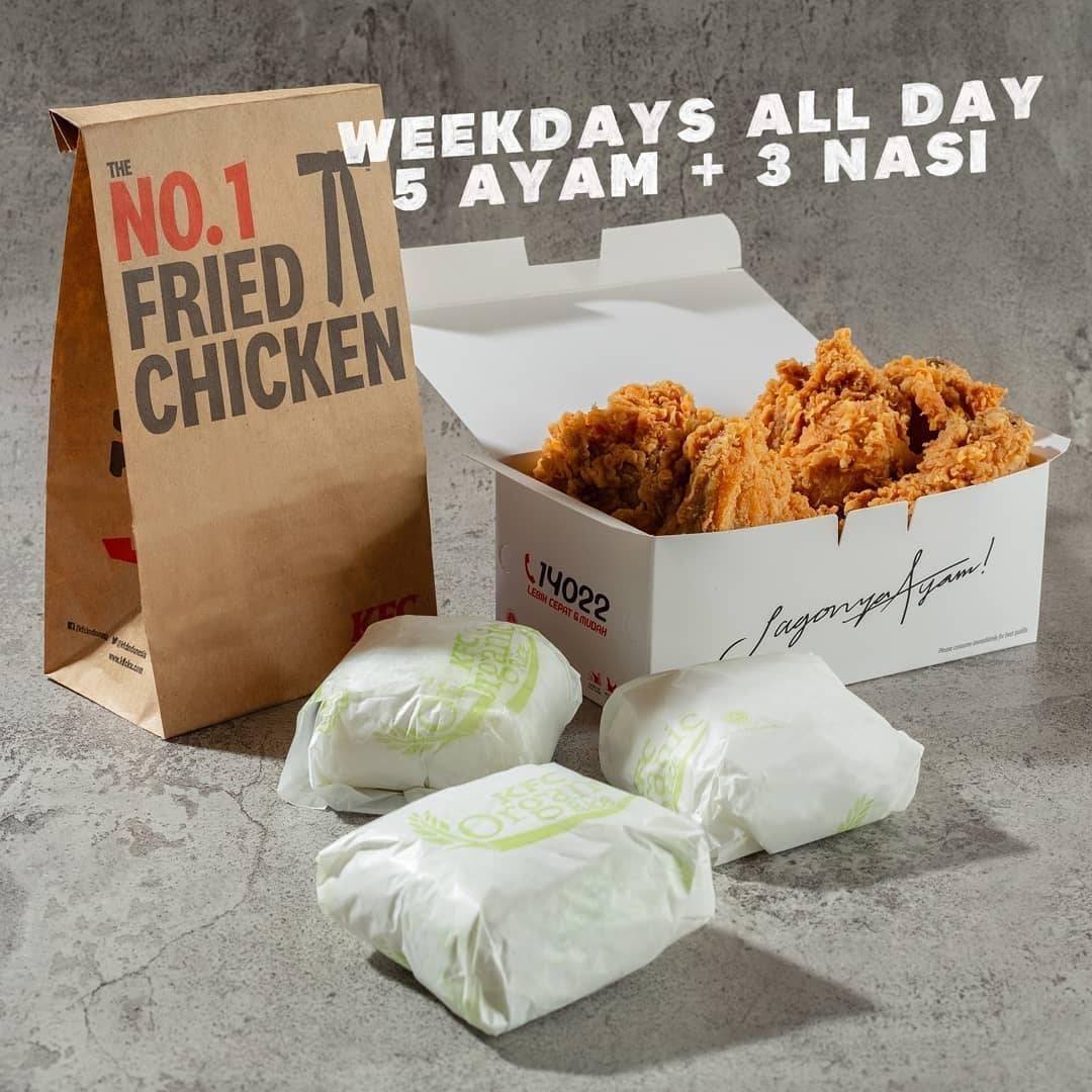 Diskon KFC Promo 5 Ayam + 3 Nasi Hanya Rp. 68.182